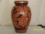 Monumental Sgriffito Italian Art Pottery Huge Floor Vase Signed
