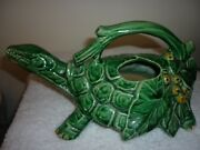 Vintage McCoy green turtle watering pitcher late 1940s