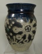 "ee106  STUDIO ART POTTERY RAKU VASE, unsigned, 6"" high"
