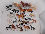 Large Lot Of Vintage Horse And Cow Barnyard Toy Figures