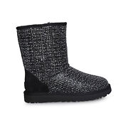 Ugg Classic Short Frill Black Suede Tweed Sheepwool Womens Boots Size Us 7 New