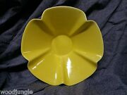 Vintage Mid Century MODERN  YELLOW FLOWER POTTERY FLOWER BOWL  USA CERAMIC RETRO