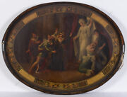 Friedrich Georg Weitsch-circle. Court Scene Iron Tray With Painting Ca. 1800