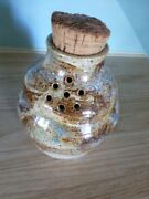 VINTAGE HAND MADE POTTERY SHAKER/GARLIC JAR WITH NATURAL CORK SIGNED BY ARTISAN
