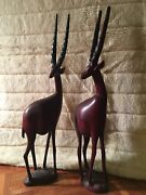Two Hand Carved Wooden African Gazelle Safari Figurine