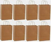 100 10x5x13 Kraft Paper Brown Handle Merchandise Shopping Gift Carry Retail Bags