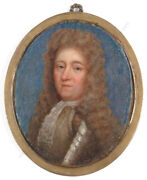 Portrait Of An English Aristocrat In Armour High Quality Miniature Ca.1700