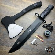 2 Pc Tactical Hunting Rambo Fixed Blade Knife Machete Bowie Axe W/ Survival Kit