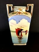 VINTAGE IMPERIAL NIPPON HAND PAINTED VASE W/MORIAGE GILDING, SAMPANS AT SUNSET