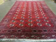 8and039 X 12and039 Vintage Hand Made Bokhara Turkoman Wool Rug Carpet Red 583