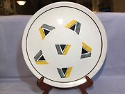 "ITALIAN ART POTTERY Ceramic MCM 12"" CHARGER Marked ITALY 530 Geometric Design"