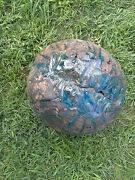 Clay Sculpture Large Ball Hand Sculpted Art Pottery Glazed Blue Green Heavy