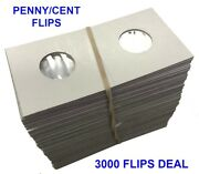 3000 2x2 Coin Flips For Us Cent/penny Mylar High Quality Cardboard Holders 1 Box