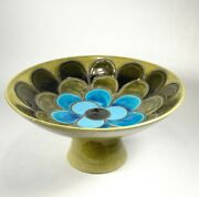 LARGE VINTAGE BITOSSI ALDO LONDI FOOTED BOWL ITALY Flower Petals Green Blue