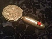 Antique Embossed Compact With Attached Lipstick Marked Italy 800 Silver W/ Coral