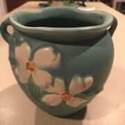 Vintage Hull Pottery Green Floral Vase Double Handle White Flowers -RARE! 5