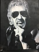 Roger Waters Portrait Painting Original Canvas Black And White Miami Artistandnbsp