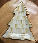 MacKenzie Childs Ceramic Parchment Check Tree Dish NEW, Bur Used For Display