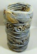 "Pottery Weed Vase, Handcrafted, Coiled, 8"", EUC"
