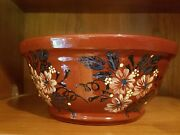 Redware handmade hand painted bowl perfect collection piece