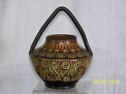 Antique c1920's French Art Deco Bertoux Clury Hand Painted Vase Signed