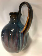Masterful Streaked Glaze on this Studio Art Pottery Pitcher w/Prominent Handle