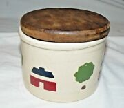 RARE ROBINSON RANSBOTTOM ROSEVILLE OHIO POTTERY LOW JAR HAND-PAINTED W/ WOOD LID
