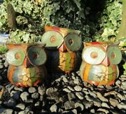 Hand Carved Made Wooden Rainbow Owl Bird Carving Sculpture Ornament Set Of 3