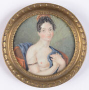 Portrait Of A Semi-nude Young Lady German Miniature Ca. 1815