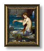 A Mermaid By Waterhouse | Framed Canvas | Wall Art Print Poster Painting Hd