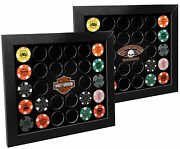 Harley-davidson Double Sided Poker Collector Chip Display Frame Holds 28 6925d