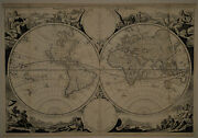 1710 Genuine Antique Ornate Map Of The World In E. And W. Hemispheres. Visscher