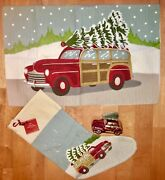 3pc New Pottery Barn Woody Car Crewel Pillow Cover, Stockingand Christmas Ornament