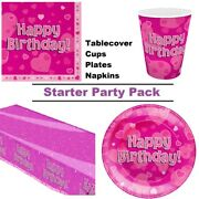 Happy Birthday Pink Hearts Stars 8-48 Guest Starter Party Pack Cup Plate Napkin