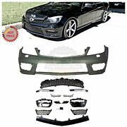 Mercedes Benz C63 Style Front Bumper W/ Led Drl For 08-14 W204 C Class W/ Pdc