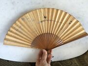 Antique Chinese Hand Painted Calligraphy Paper Fan Water Boat Signed Script Run