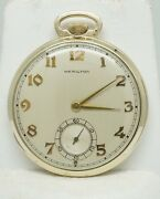 14k Yellow Gold Vintage Mechanical Wind-up Hamilton Open Face Pocket Watch