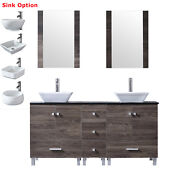 Modern 60 Bathroom Vanity Double Cabinets 4 Ceramic Sink Faucet W/glass Top