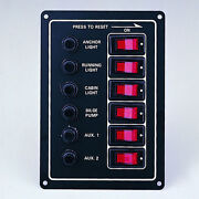 6 Gang Switch Panel With Illuminated Switch 6 1/2 X 4 1/2 20 Preprinted Labels