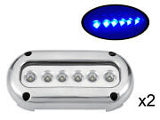 Pactrade Marine 2pcs Blue Led Stainless Steel Underwater Light Surface Mount