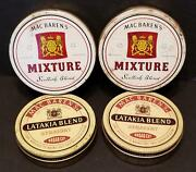 Vintage Tobacco Tins Mac Baren's Mixture And Latakia Blend 4 Round Can Lot
