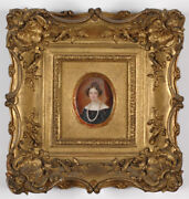 Mme Darbois 1793-1840and039s Portrait Of A Lady High Quality Miniature 1830s