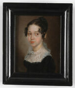 Portrait Of A Young Lady, German Oil Miniature, Ca.1815