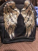 Black Backpack With Gold Angel Wings Beautiful And Rare