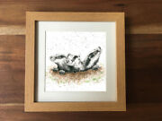 Badger Cub Set Country Photo Frame Picture Animal Wildlife Print Gift Art Xmas