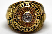 Millionaire's Club 10k Solid Gold And Diamond Fidelity Union Life Ring Size 7