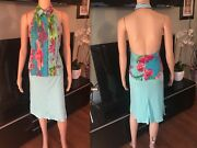 Gianni Versace Vintage Sexy Open Back Shirt Top And Skirt 2 Piece Set Sz 40