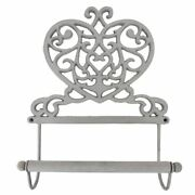 Rustic Heart Shaped Shabby Chic Kitchen Roll Holder / Dispenser In Antique Grey