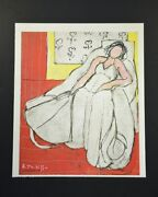 """Henri Matisse, Special Print """"girl In White, Red Background"""". Hand Signed, Coa."""