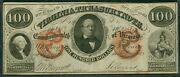 Virginia - 100.00 Treasury Note, 1862, Gov. Letcher And Indian At Right, Vf/xf